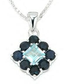 Sterling Silver Genuine Sapphire Pendant. 1222BTS